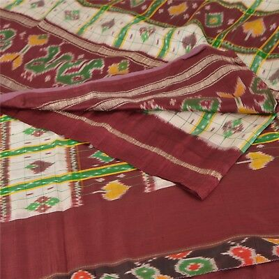 Sanskriti Vintage Dark Red Saree 100% Pure Silk Woven Patola Sari Craft Fabric
