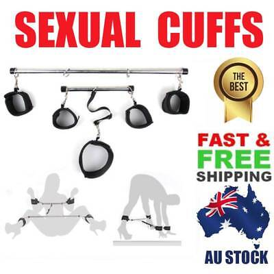 Lockable Bondage Hand Leg slave Spreader Bar Wrist Ankle Cuffs Restraints Toy-AU