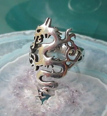 Ring Dragon Mythical Creatures Fire speiend Mythology Sterling Silver 925