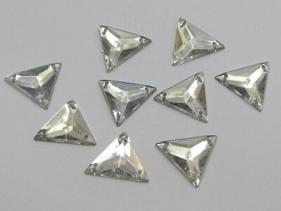 100 Clear Flatback Acrylic Triangle Rhinestone Button 16mm Sew on beads