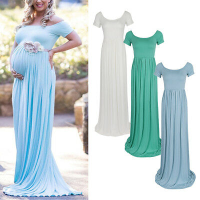 Women's Short Sleeve Cotton Maternity Gown Maxi Photography Pregnancy Dress