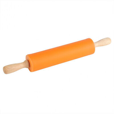 38cm Non-Stick Fondant Silicone Rolling Pin With Wooden Handle - Orange