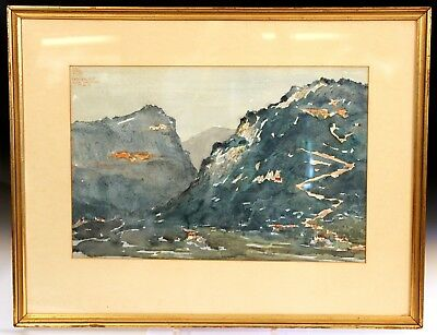 Antique Watercolor Painting French Alps Loup River Gorge Old Vintage Signed