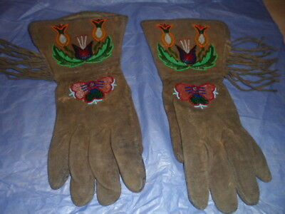 Genuine Native American Beaded Buckskin Gauntlet Gloves - US - Glove