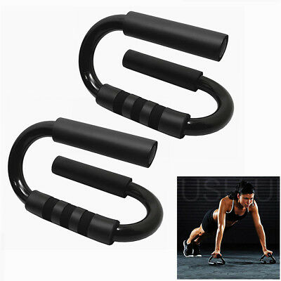 100KG S Shape Handle Push-up Bars Fits for Muscle Training - Black (1 Pair)
