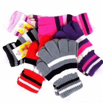 Children Girls Boys Kids Magic Elastic Knitted Gloves Mittens Winter Warm New AU