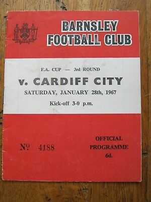 PROGRAMME BARNSLEY  v CARDIFF CITY FACUP3  28.1. 1967   MINT CONDITION  FC