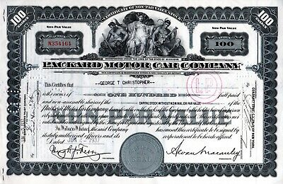 1937 Packard Motor Car Company Stock Certificate - issued to Packard President