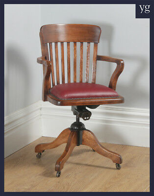 Antique English Edwardian Beech & Red Leather Revolving Office Desk Chair c1910