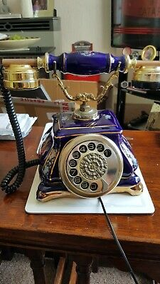 Vintage Style Porcelain Landline Telephone Rotary Dial