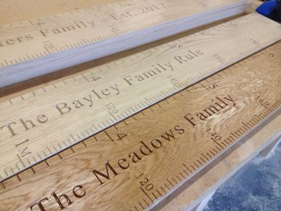 Solid Oak Engraved Height Chart