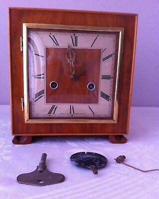 Vintage Art Deco Smiths Wooden Chiming Mantel Clock A/F