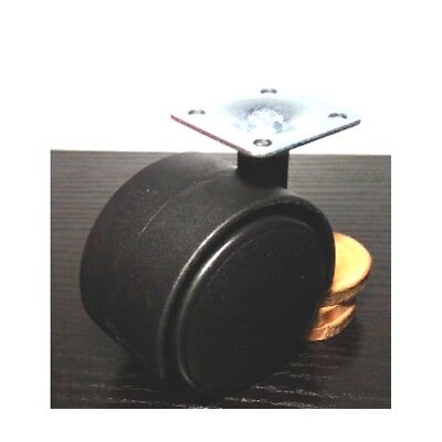 Black Plastic Caster Wheel 1 Inch Swivel Plate Caster with 75lb. Load Rating-Pac