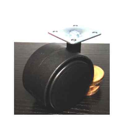 Black Plastic Caster Wheel 2 Inch Swivel Plate Caster with 75lb. Load Rating