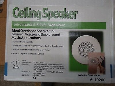 "Lot#0611-6: Valcom V-1020C 8"" Ceiling Mount Speaker, Flush Mount, Self Amplified"