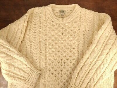 a936c0fed2263c Men s Cream LL Bean 100% Wool Cable Knit Fisherman Ireland Chunky Sweater  SZ XXL