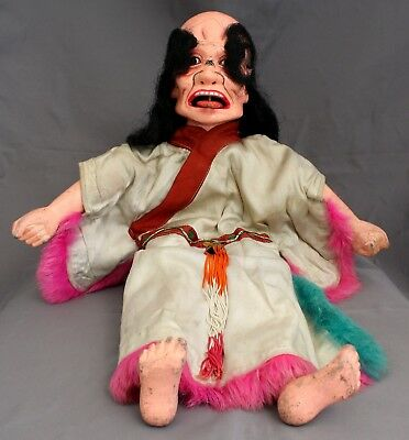 Antique Chinese Puppet Movable Tongue Horse Hair Wig Painted Wood Head Doll