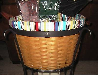 Longaberger Work A Round Around FABRIC LINER -  Sunny Day Stripe - NEW!!  Cute!