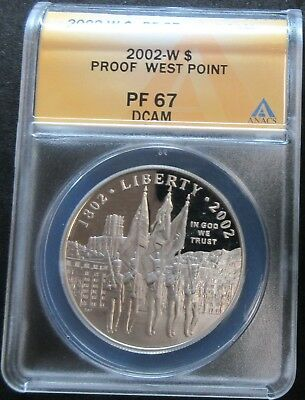 2002-W Proof West Point Bicentennial Silver Dollar Coin - Anacs Pf 67 Dcam