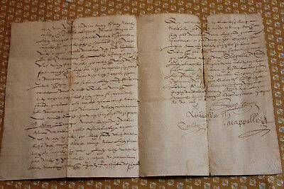 1601 oncial medieval manuscript letter 4pp Good looking nice perfect calligraphy
