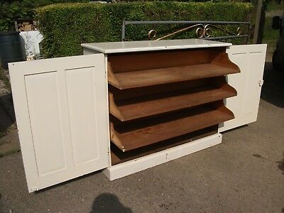 4' Antique Painted Pine 3 Drawer Shelf Linen Press Dresser Base Cupboard Cabinet