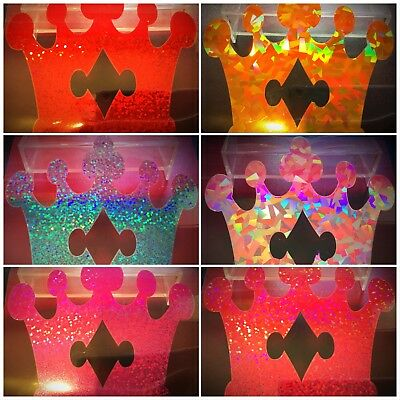 """Fabric Holographic Crown 4""""x4"""" IRON-ON HOTFIX Costume TShirt Transfer Patch"""