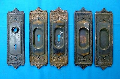 5 ANTIQUE Beaded Cast Iron DOOR BACK PLATES- Neoclassical-Style; FREE SHIPPING!