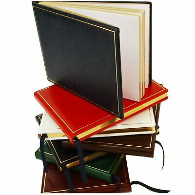 Quality Leather Guest Book, 7 by 9 in, Gold Tooling, Blank Pages, Charing Cross