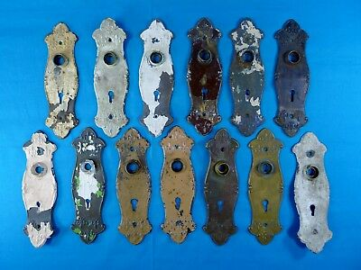 13 ANTIQUE Cast Iron DOOR BACK PLATES- Victorian Style; FREE SHIPPING!