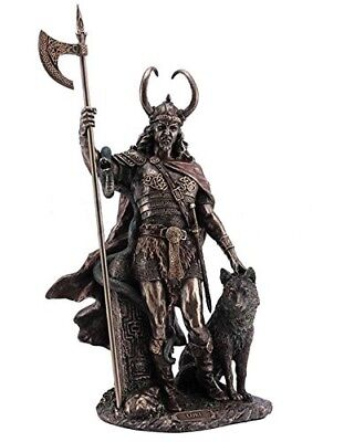"""Norse god of Mischief Loki Bronze Statue with Fenrir wolf over 13"""" Tall"""