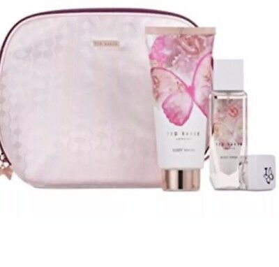 TED BAKER Floral Fancies Xmas Gift Set Makeup Bag Body Wash Body Spray Lip Balm