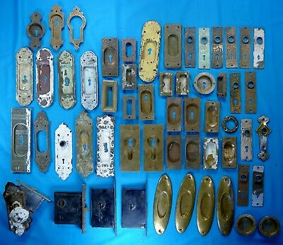 LARGE Lot of ANTIQUE DOOR HARDWARE- Plates, Keyhole Covers, etc.; FREE SHIPPING!