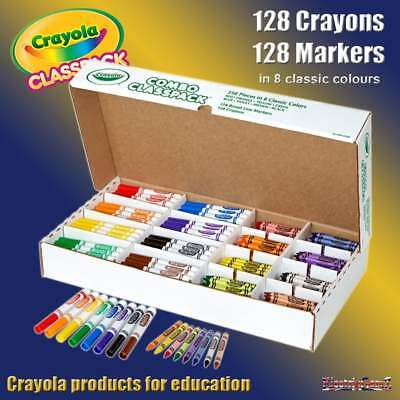 Crayola Class Pack 256 Washable Markers and Crayons Combo 128 of Each 8 Colours