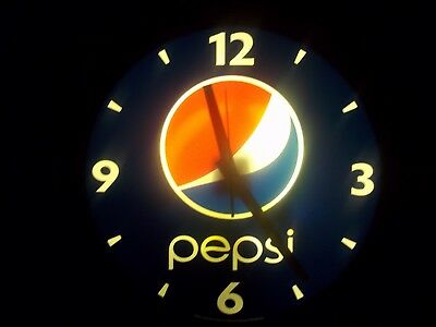 "Pepsi 18"" Lighted Clock w/new AA quartz mechanism!"