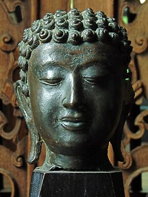 Antique Sukhothai Style Lacquered Bronze Head Of Buddha On Stand