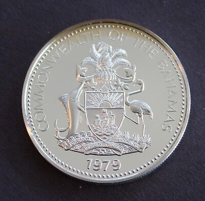 Bahamas Rare 1979 Brilliant Proof Silver $2, KM# 66a