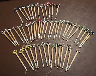 Total Of 54 Vintage Turned Wooden Lace Bobbins, Wired And Beaded