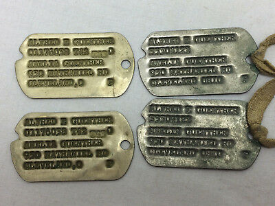 Vintage WW2 Dog Tag Lot of 4 Tags Cleveland Ohio Soldier Guemther Field Gear