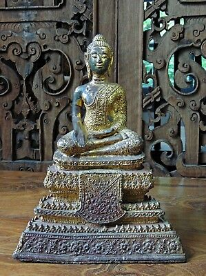 Antique Thai Gilt & Lacquered Bronze Rattanakosin Statue Of Seated Buddha