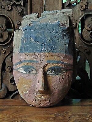 Antique Egyptian Carved Wood & Polychrome Gesso Mummy Mask, Late Period