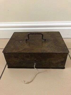 Vintage Heavy Metal Strong Box With Key