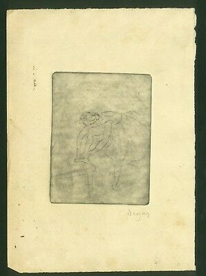 EDGAR DEGAS - etching on original paper of the 19th century -