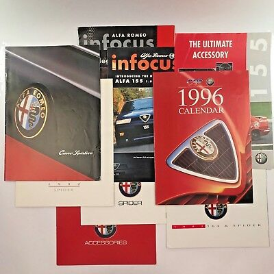 LOT of 9 Alfa Romeo Sales Brochures UK & US from 1980s 1990s Spider 164 155
