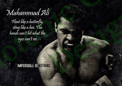 Muhammad Ali Boxing Sport Quote Photo Poster Print Wall Art Size A4 GIFT