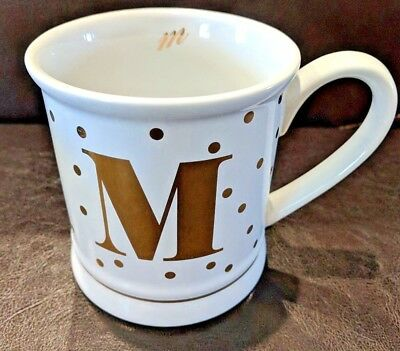 Pier 1 Imports M Monogram Ceramic Coffee Mug Tea Cup Gold Polka Dots Gift