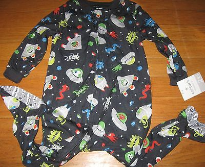 Carter's Toddler Boys One Piece Space Martian Feet PJs Pajama  New 2T