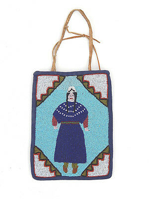 Antique Native American Indian Yakima Beaded Pictoral Bag Columbia Plateau
