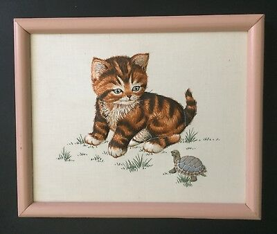 Vtg Framed Puffy 3D Cat Turtle Quilted Picture Pale Pink Frame Kitten Animal Art