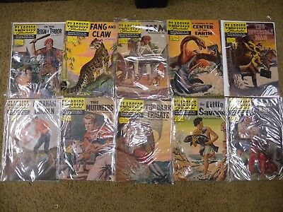 "10-Vtg ""Classics Illustrated"" Comic Books, Invisible Man, Center of Earth, etc."