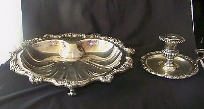 Vint. Poole Old English Silverplate Shell Shaped Footed Tray 5034 & Candlestick
